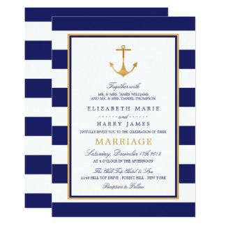 Vintage Nautical Gold Anchor Wedding Card