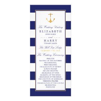 Vintage Nautical Gold Anchor Wedding Program Rack Card