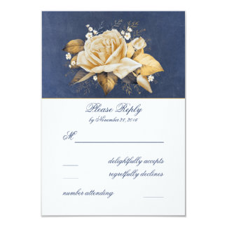 Vintage Navy and Gold Floral Wedding RSVP 9 Cm X 13 Cm Invitation Card