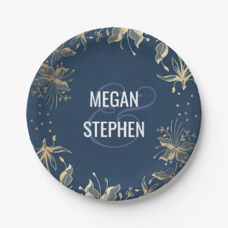 Vintage Navy and Gold Floral Wreath Wedding 7 Inch Paper Plate