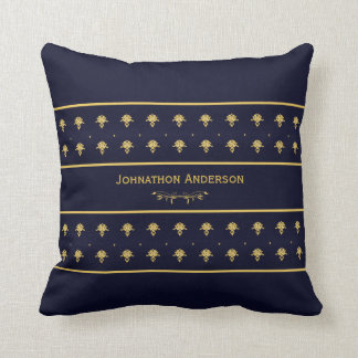 Vintage Navy Blue And Gold Book With Name Throw Pillows