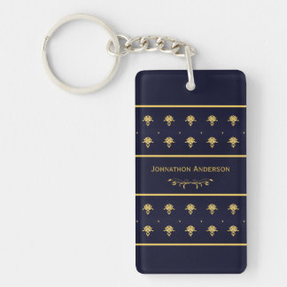 Vintage Navy Blue And Gold Book With Name Acrylic Keychain