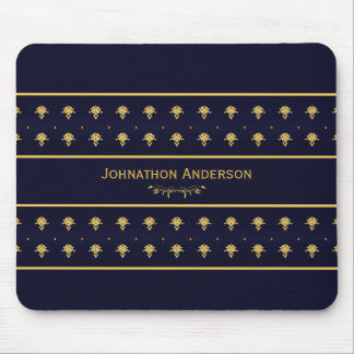 Vintage Navy Blue And Gold Book With Name Mousepad