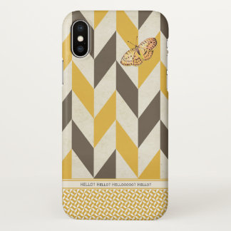 Vintage Neutral Cute Yellow Butterfly Personalized iPhone X Case
