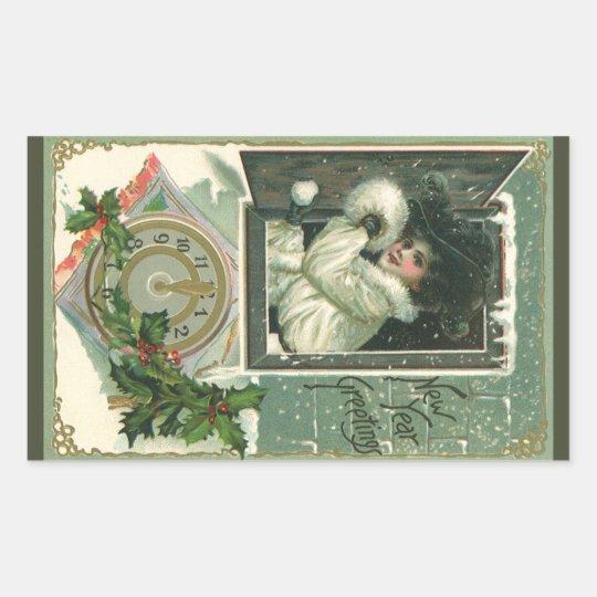 Vintage New Year Greetings, Victorian Window Girl Rectangular Sticker