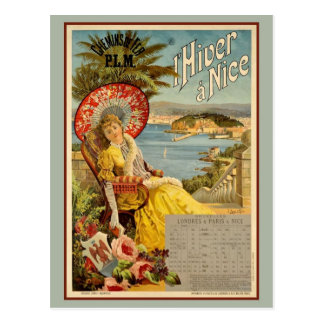 Vintage Nice French Riviera winter travel ad Postcard