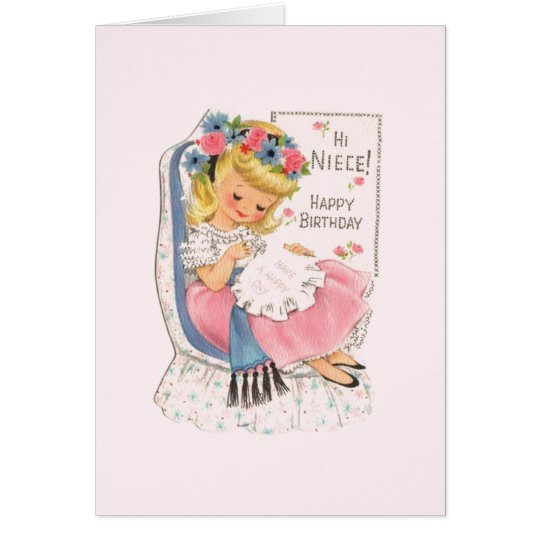 Vintage Niece Cross Stitch Birthday Card