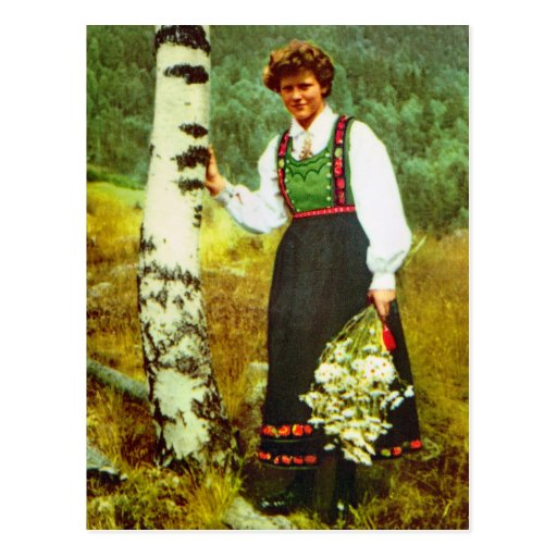 Vintage Norway, Lady with flowers Post Card