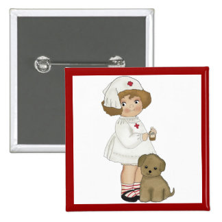 Vintage Nurse With Puppy T-shirts and Gifts 15 Cm Square Badge