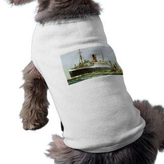 Vintage Ocean Liner and Tugboat Sleeveless Dog Shirt
