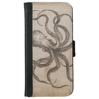 Vintage Octopus Sea Animals Aquatic Life Old Paper iPhone 6 Wallet Case