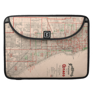Vintage Old Map of Chicago - 1893 Sleeve For MacBook Pro