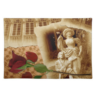 Vintage Old Photos Rose Petals Shabbychic Placemat