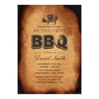 Vintage Old Pig Roast Retirement BBQ Party 13 Cm X 18 Cm Invitation Card