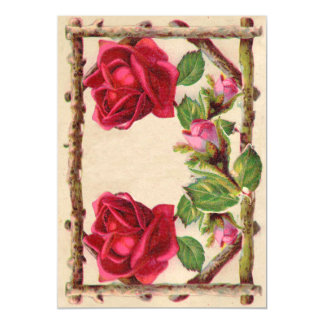 Vintage Old Rose Rustic Victorian Antique Magnetic Invitations