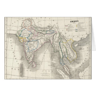 Vintage old world India map print Card