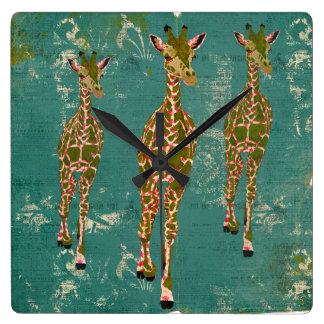 Vintage Olive & Pink Rose Giraffes Clock