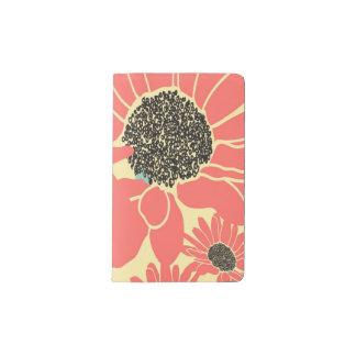 Vintage Orange and black Daisy Pocket Moleskine Notebook