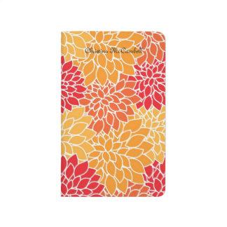 Vintage Orange and Red Floral Journal
