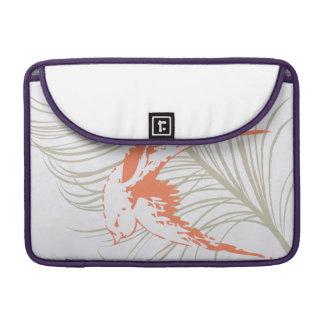 Vintage Orange Bird & Feather Sleeve For MacBook Pro