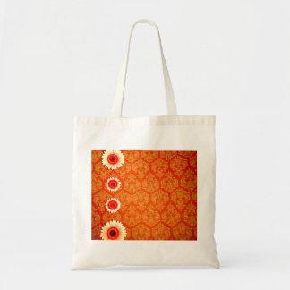 Vintage Orange Damask and Pink Daisies Budget Tote Bag