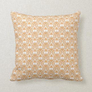 Vintage Orange Damask Pattern Pillows
