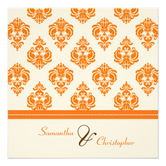 Vintage Orange Damask wedding invitations