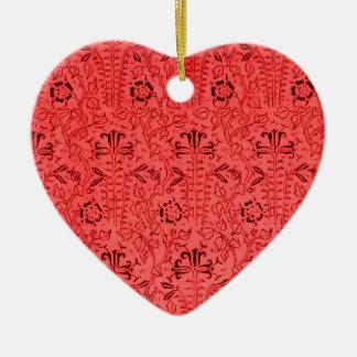 Vintage Orange Floral Heart Ornament