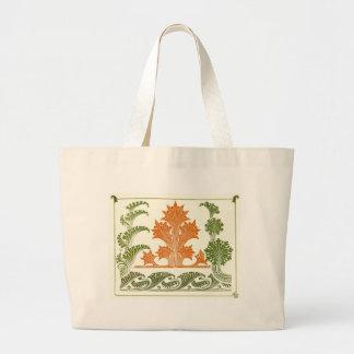 Vintage Orange Green Floral Design Jumbo Tote Bag
