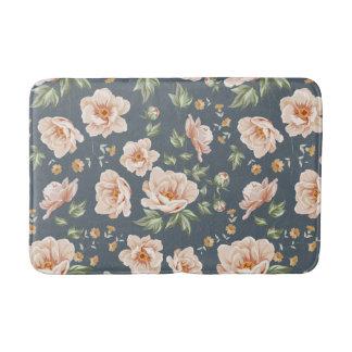 Vintage orange grey spring floral pattern painted bath mats