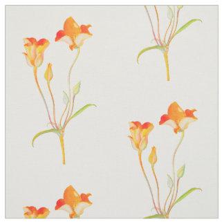 Vintage Orange Tulip Pattern Fabric