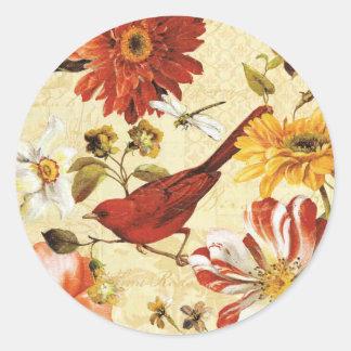 Vintage orange white floral red bird dragonfly classic round sticker