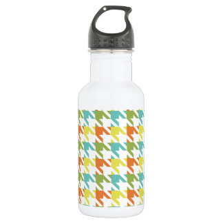Vintage Orange, Yellow, and Teal Green Houndstooth 532 Ml Water Bottle