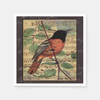 Vintage Oriole On  Music Paper Napkins