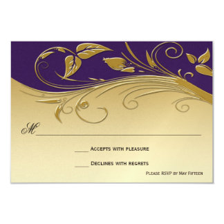 Vintage Ornage Royal Purple and Gold Swirls RSVP 9 Cm X 13 Cm Invitation Card