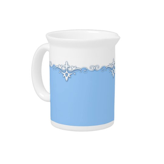 Vintage ornament border light blue pitchers