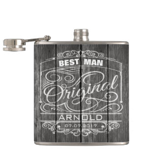 Vintage Ornament On Rustic Dark Wood Wedding Flask