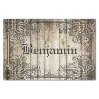 Vintage Ornate Border Dark Wood Personalised Name Tissue Paper