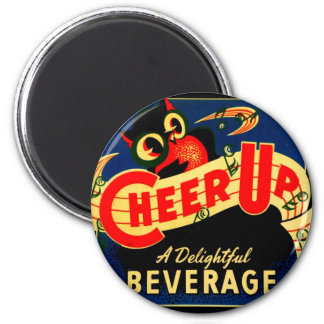Vintage Owl Cheer Up Soda Pop Sign Ad Graphics 6 Cm Round Magnet