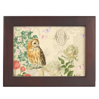 Vintage owl floral box with beautiful rose