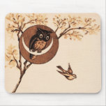 Vintage Owl in Moon Mouse Pads