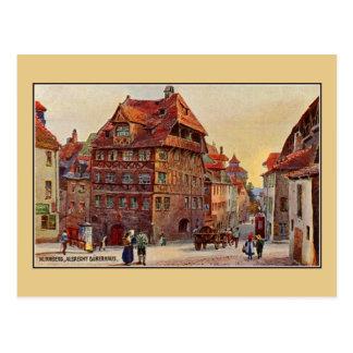 Vintage painting Nürnberg Albrecht Dürer house art Postcard