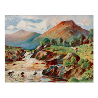 Vintage painting of the river Conan in Ross-shire Postcard