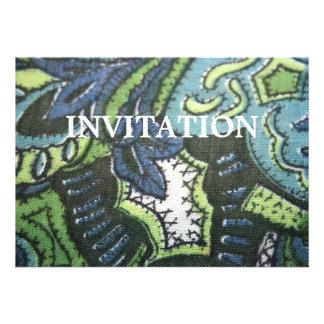 Vintage Paisley Design Fabric Invitation