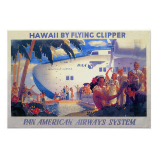 Vintage Pan American Travel Poster - Hawaii