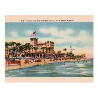 Vintage Pancoast and Whitman Hotels Miami Postcard