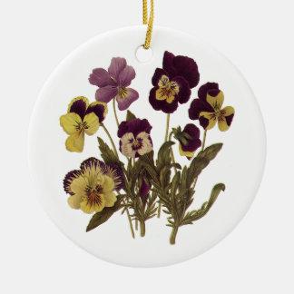 Vintage Pansies in Bloom, Floral Garden Flowers Round Ceramic Decoration