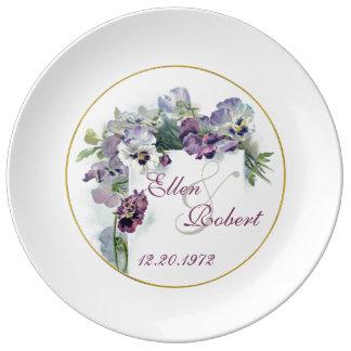 Vintage pansies wedding anniversary plate