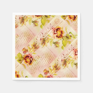 Vintage pansy flower postcard disposable serviettes
