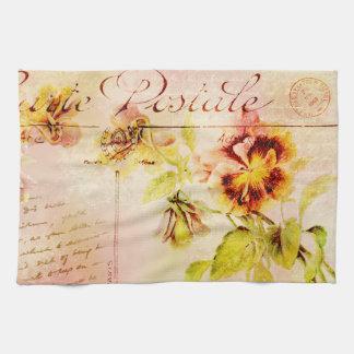 Vintage pansy flower postcard tea towel